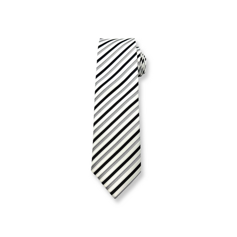 Black-White-Grey Striped Poly/Satin Long Tie