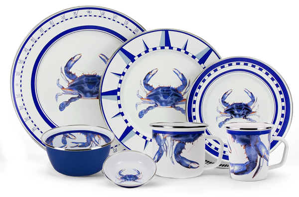 Blue Crab Enamelware Collection by Golden Rabbit