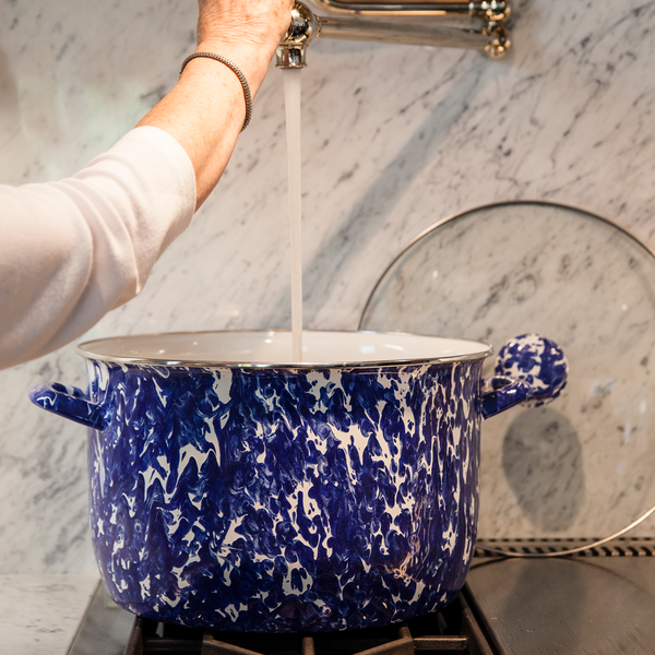 CB75 Cobalt Blue Swirl 18 Quart Stock Pot