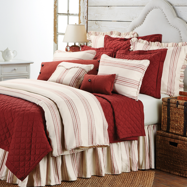 FB6200BS Prescott Red Striped Bedskirt