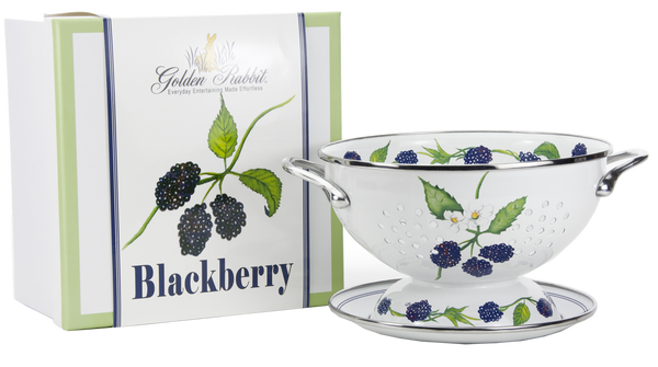 "Golden Rabbit - Blueberry Pattern - 2 Quart Colander with 8"" Matching Drain Plate"