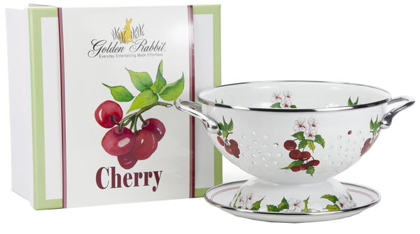 "CH107 - Cherry Pattern - 2 Quart Colander with 8"" Matching Drain Plate"