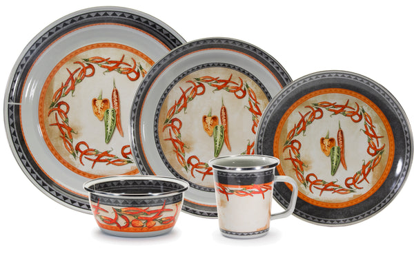 Chili Peppers Enamelware Pattern by Golden Rabbit