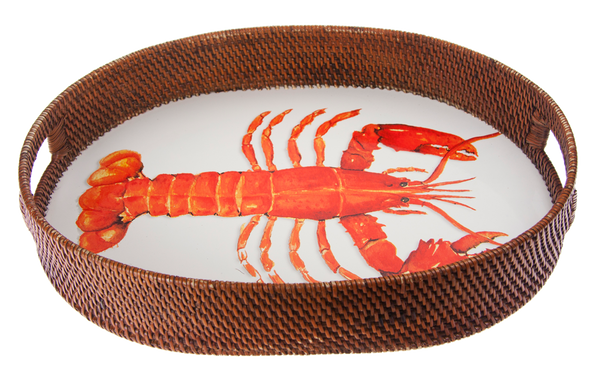 LS73 Lobster Rattan Tray - Golden Rabbit Enamelware