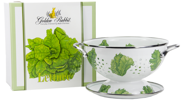 "LT107 - Lettuce Pattern - 2 Quart Colander with 8"" Matching Drain Plate"