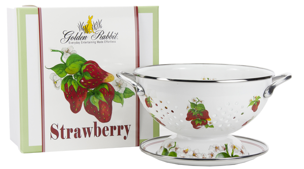 "SB107 - Strawberry Pattern - 2 Quart Colander with 8"" Matching Drain Plate"