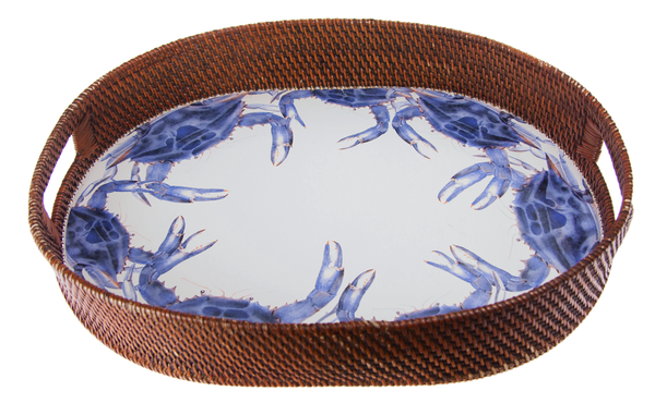 LS73 Blue Crab Rattan Serving Tray by Golden Rabbit