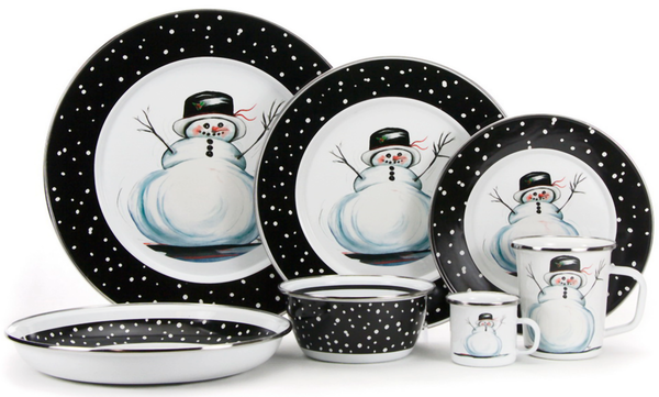 Snowman Winter Pattern - Enamelware by Golden Rabbit