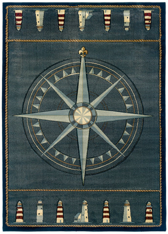 United Weavers - Contours Rug Collection - COMPASS ROSE SMOKE BLUE (510-24966)