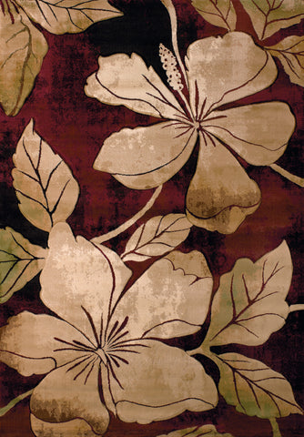 United Weavers - Contours Rug Collection - FLORAL CANVAS BURGUNDY (510-28834)