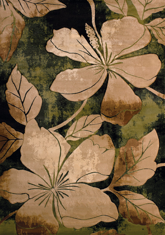 United Weavers - Contours Rug Collection - FLORAL CANVAS GREEN (510-28845)