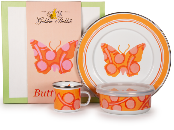 Golden Rabbit - Enamelware Butterfly Pattern Child Dinner Set