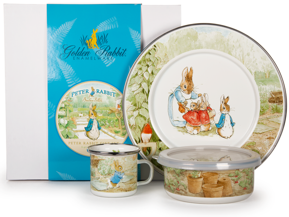Golden Rabbit - Enamelware Peter Rabbit Pattern Child Dinner Set