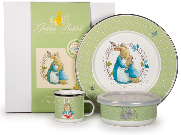 Golden Rabbit - Enamelware Polka Dot Peter Pattern Child Dinner Set