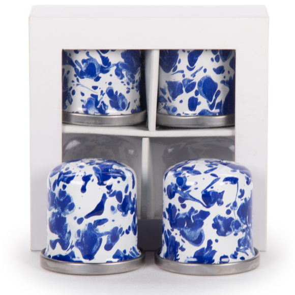 CB37 Cobalt Blue Swirl - Set of 2 - Enamelware Salt and Pepper Shakers