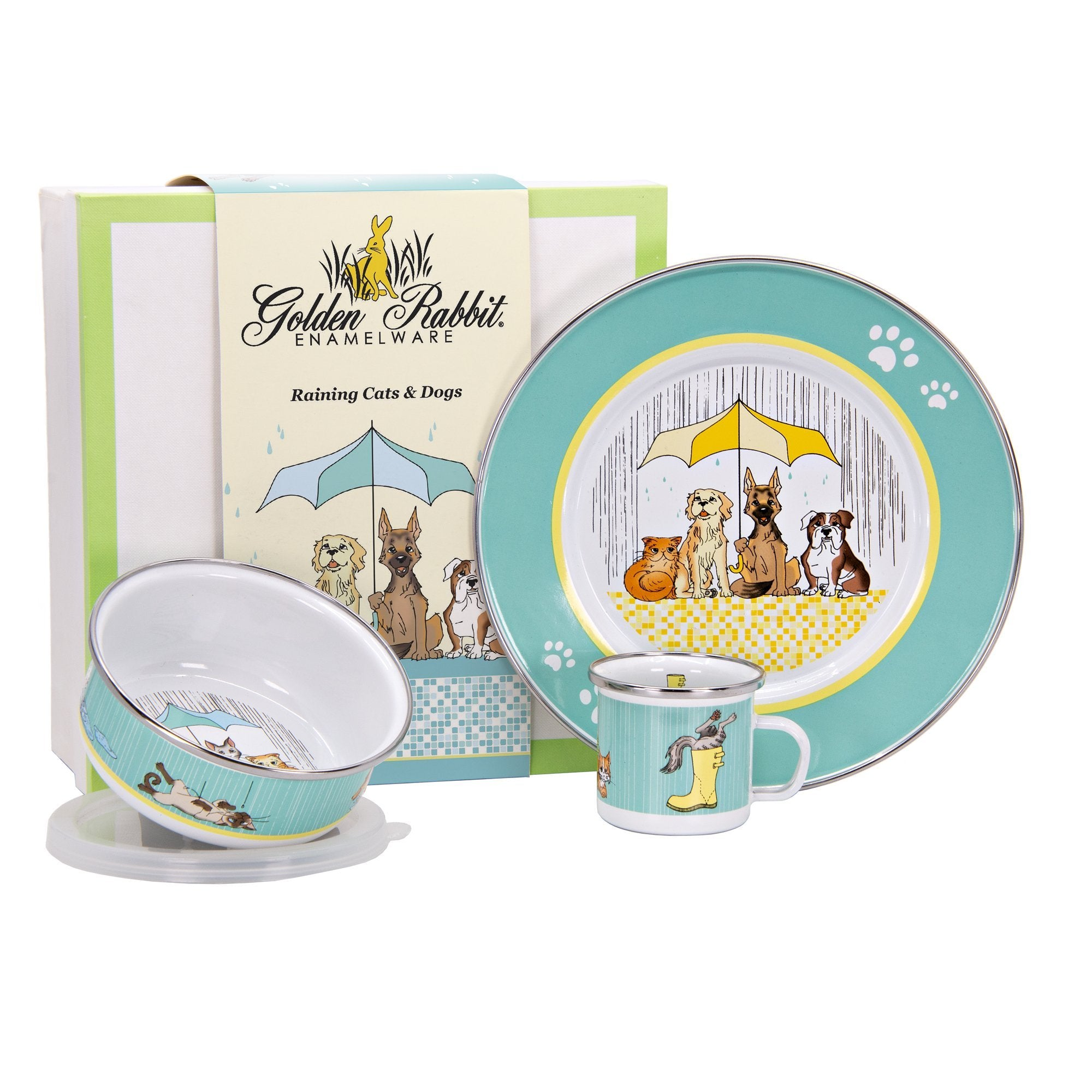 CD99 -  Enamelware Raining Cats and Dogs - Child Dinner Set by Golden Rabbit Enamelware