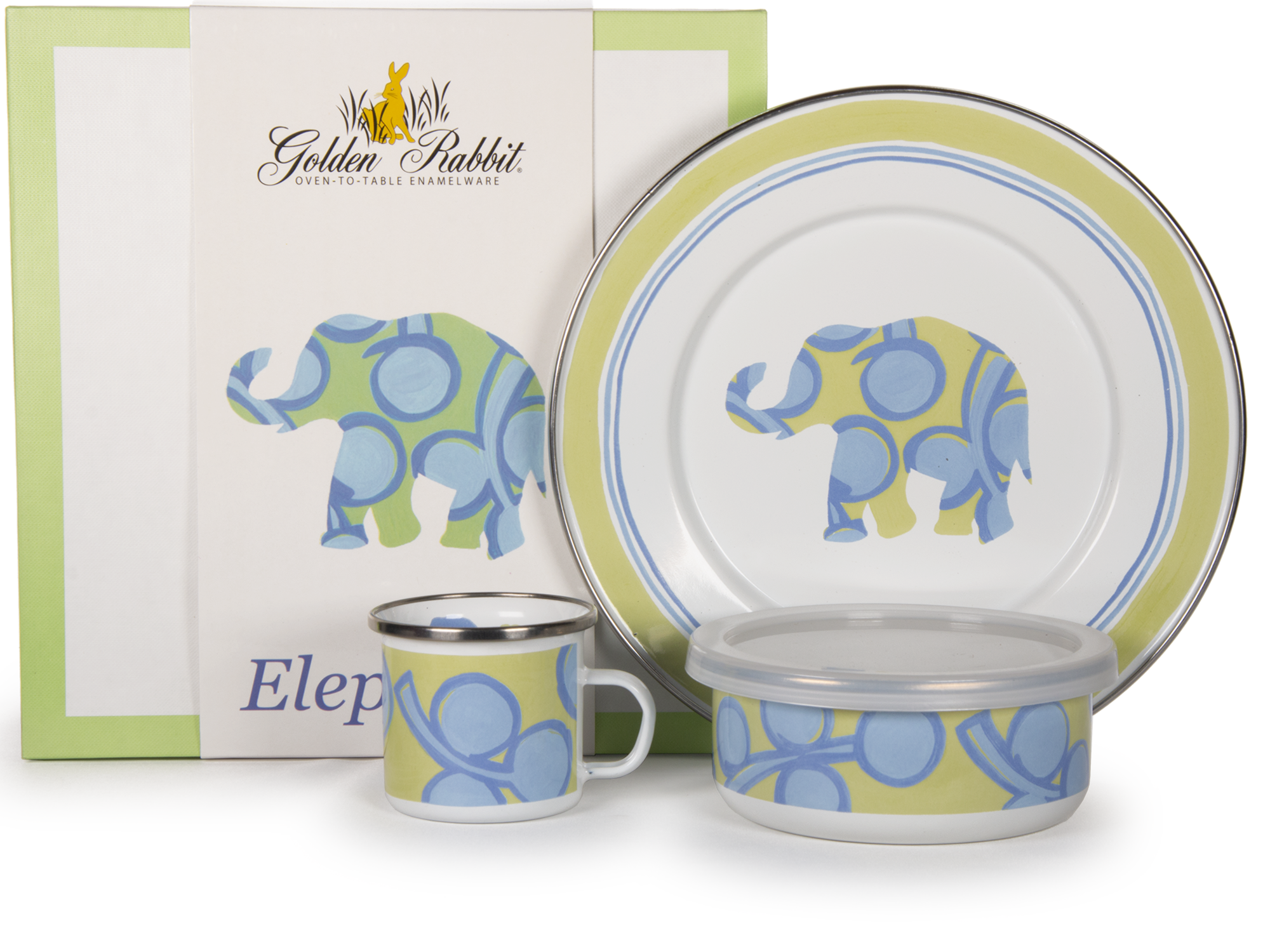 Golden Rabbit - Enamelware Elephant Pattern Child Dinner Set