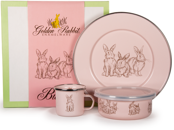Golden Rabbit - Enamelware Pink Bunnies Pattern Child Dinner Set
