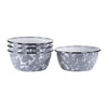 GY61S4 - Set of 4 - Enamelware Grey Swirl - Salad Bowls