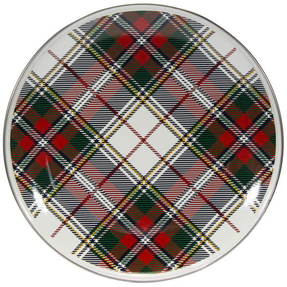 HP36 - Highland Plaid Pattern -  Enamelware Dinner Plate - by Golden Rabbit