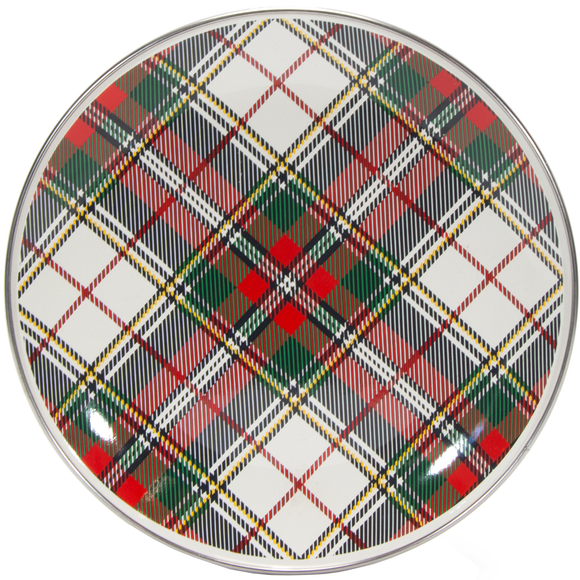 HP69 - Highland Plaid Pattern -  Enamelware Sandwich Plate - by Golden Rabbit