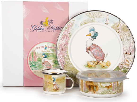 Golden Rabbit - Enamelware Jemima Puddle-Duck Pattern Child Dinner Set
