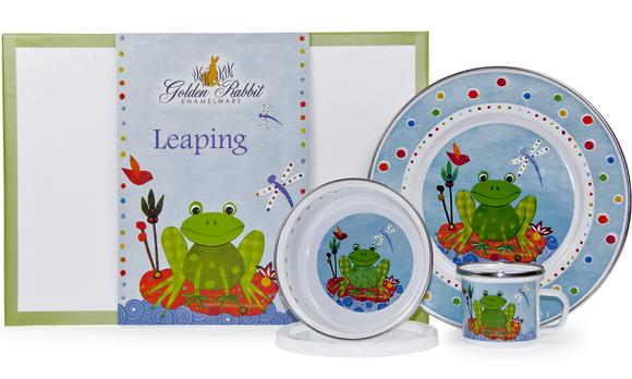 Golden Rabbit - Enamelware Leaping Frog Pattern Child Dinner Set