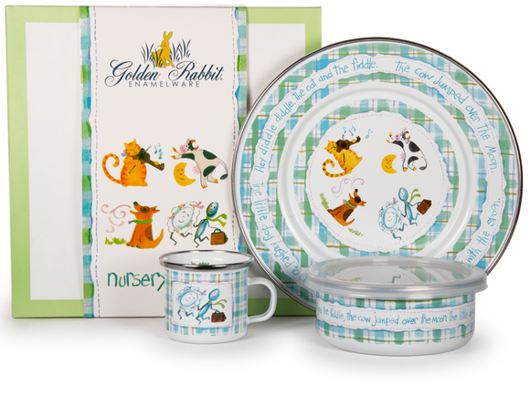 Golden Rabbit - Enamelware Nursery Rhyme Pattern Child Dinner Set