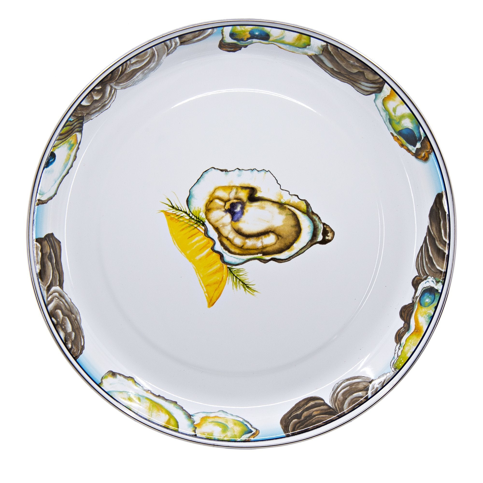 OY08 - Oyster - Enamelware - 13 Inch Round Tray