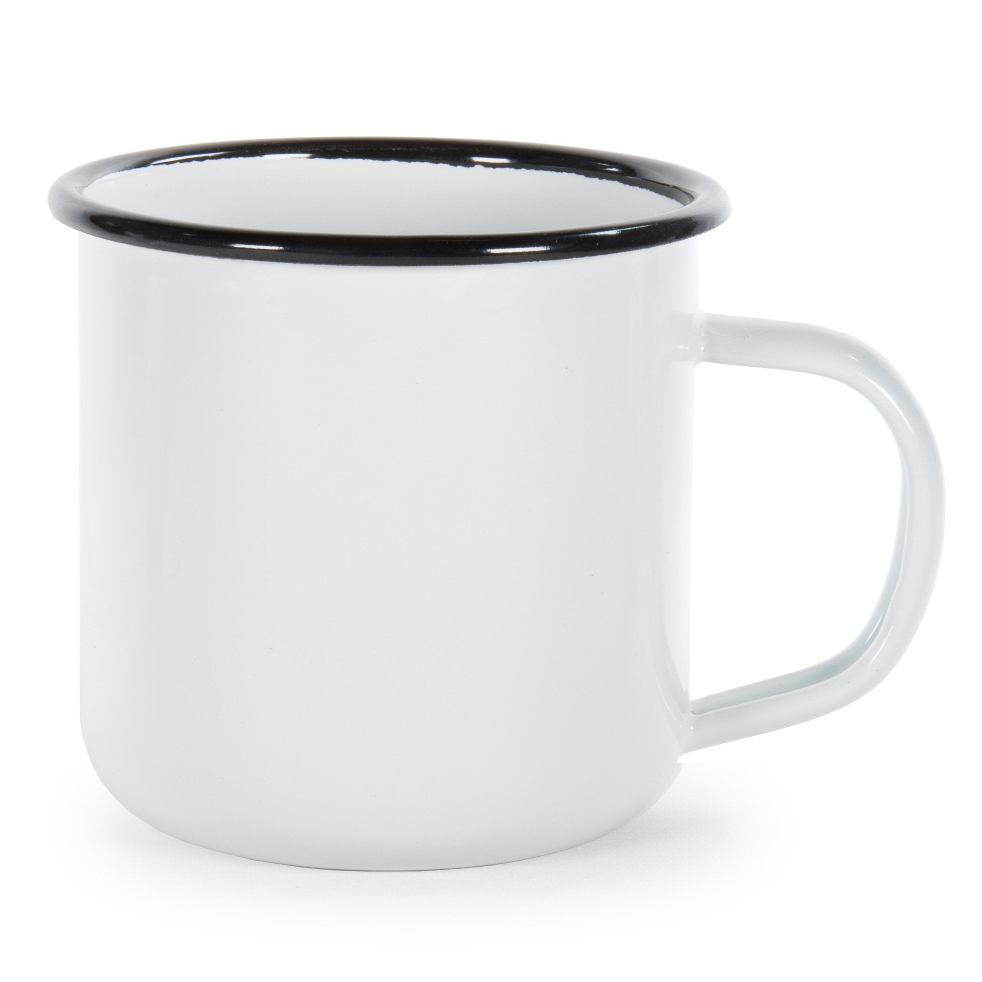 RBW92 - Glampware Mugs - White with  Black Trim  - Set of 4