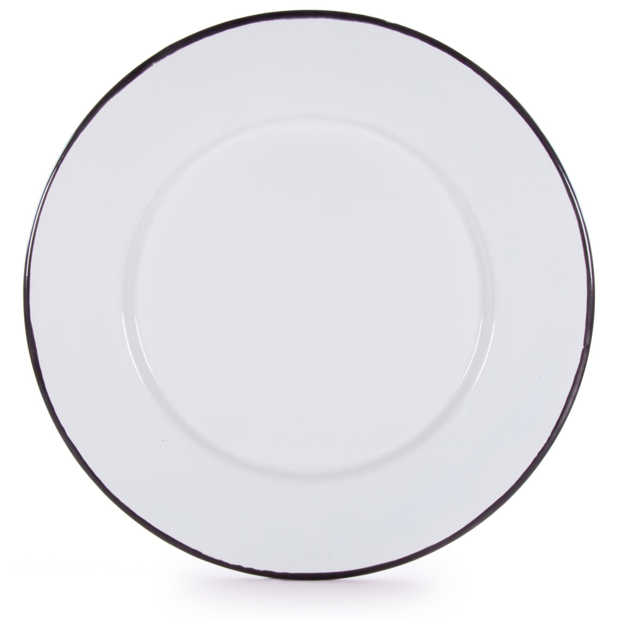 Glampware  Plates - White with Black Trim  - Set of 4