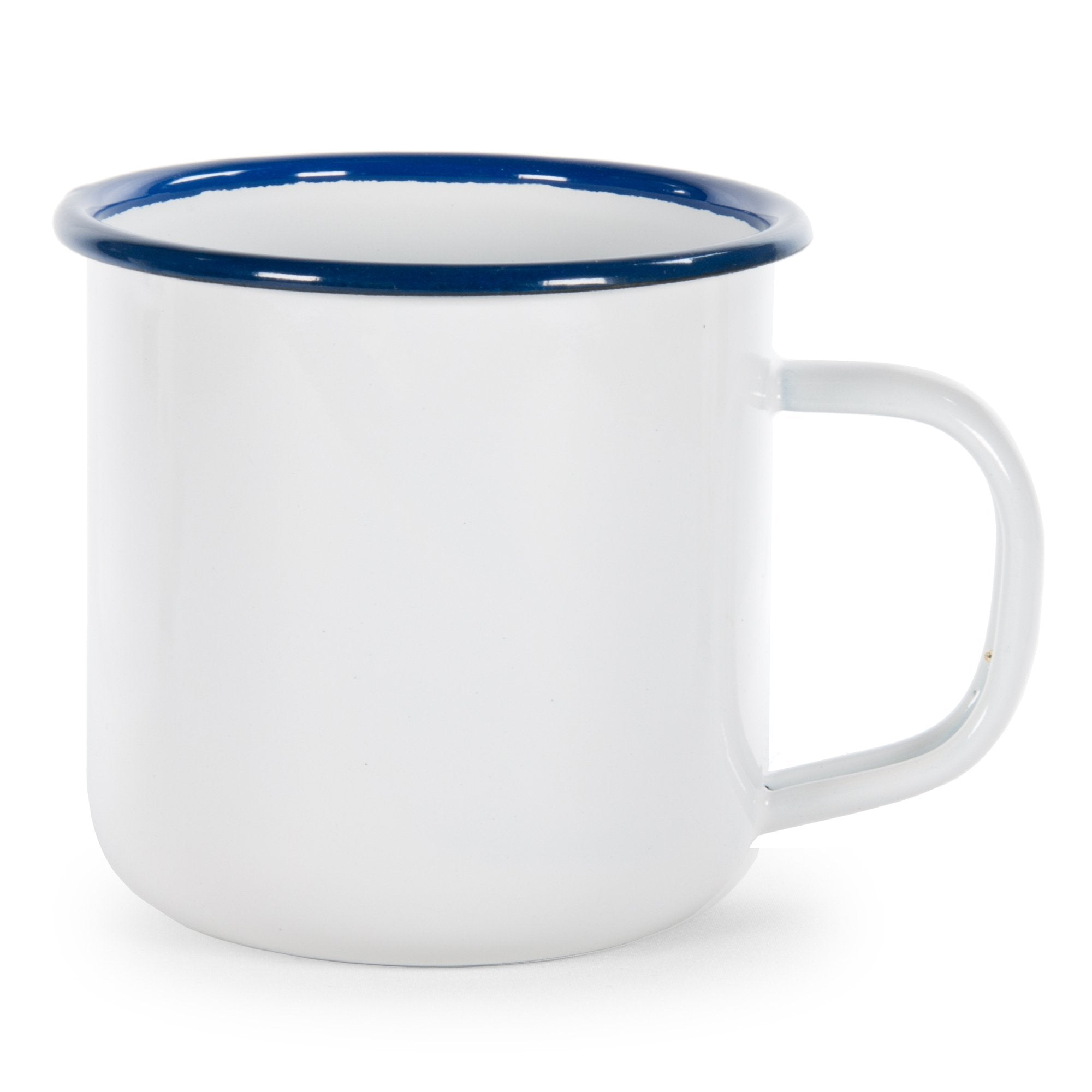 RCW92 - Glampware  Mugs - White with Cobalt Trim  - Set of 4