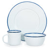 RCW92 - Glampware  Mugs - White with Cobalt Trim  - Set of 5