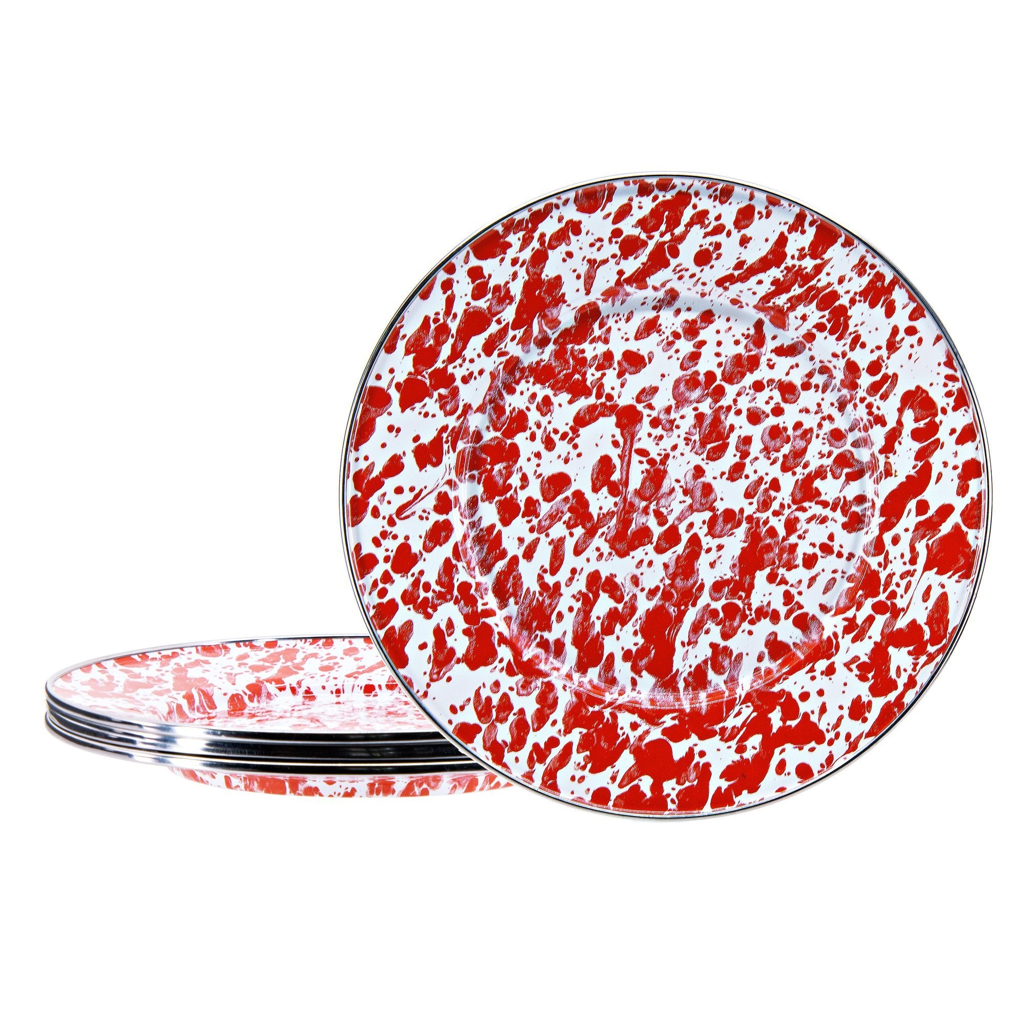 RD11S4 - Set of 4 - Red Swirl - Sandwich Plates