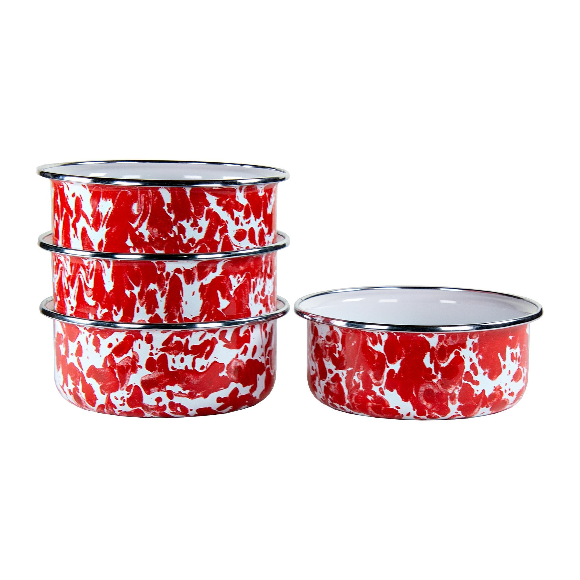 RD60S4 - Set of 4 - Enamelware Red Swirl - Soup Bowls