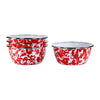RD61S4 - Set of 4 - Enamelware Red Swirl - Salad Bowls by Golden Rabbit