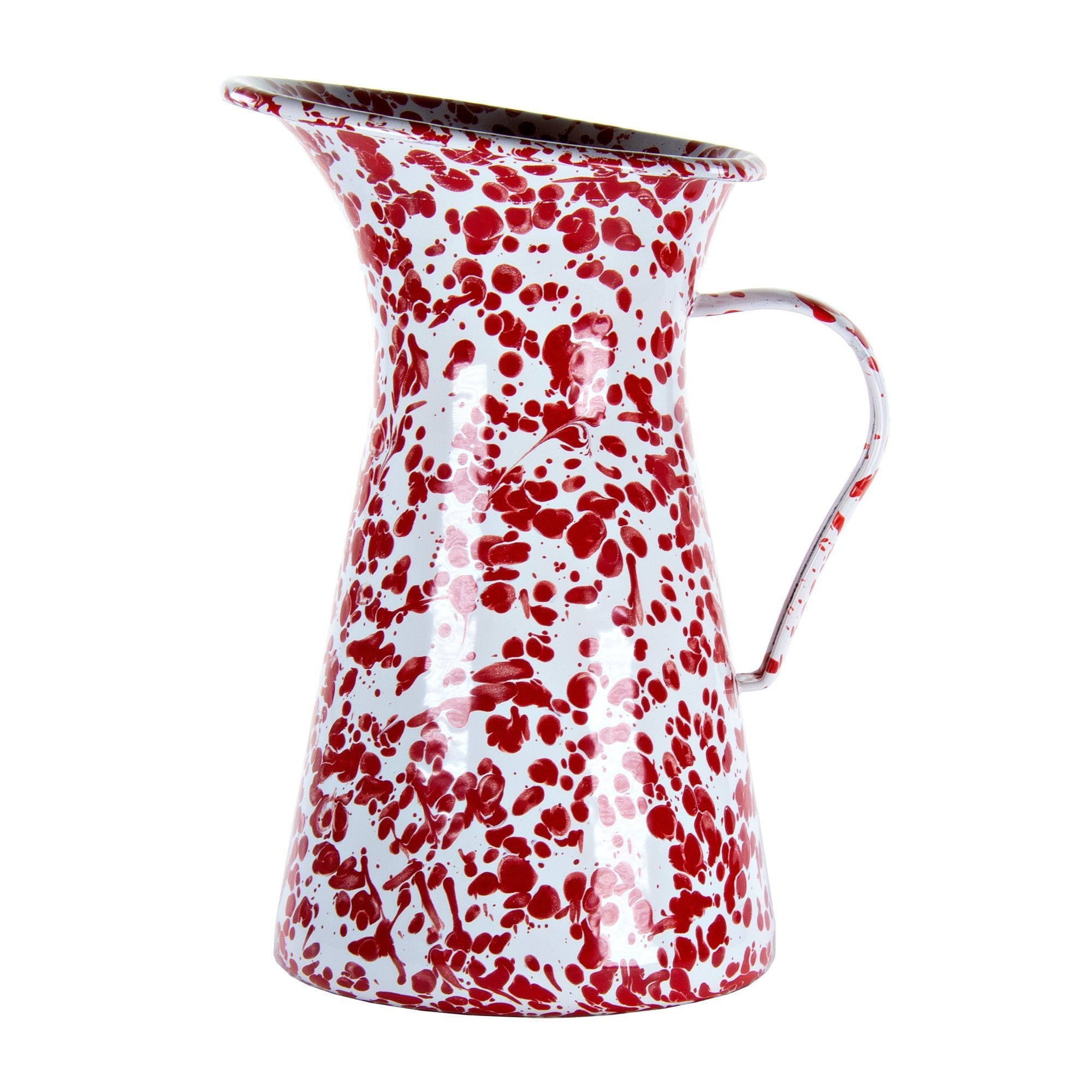 RD63 - Red Swirl - Enamelware- Large Pitcher by Golden Rabbit