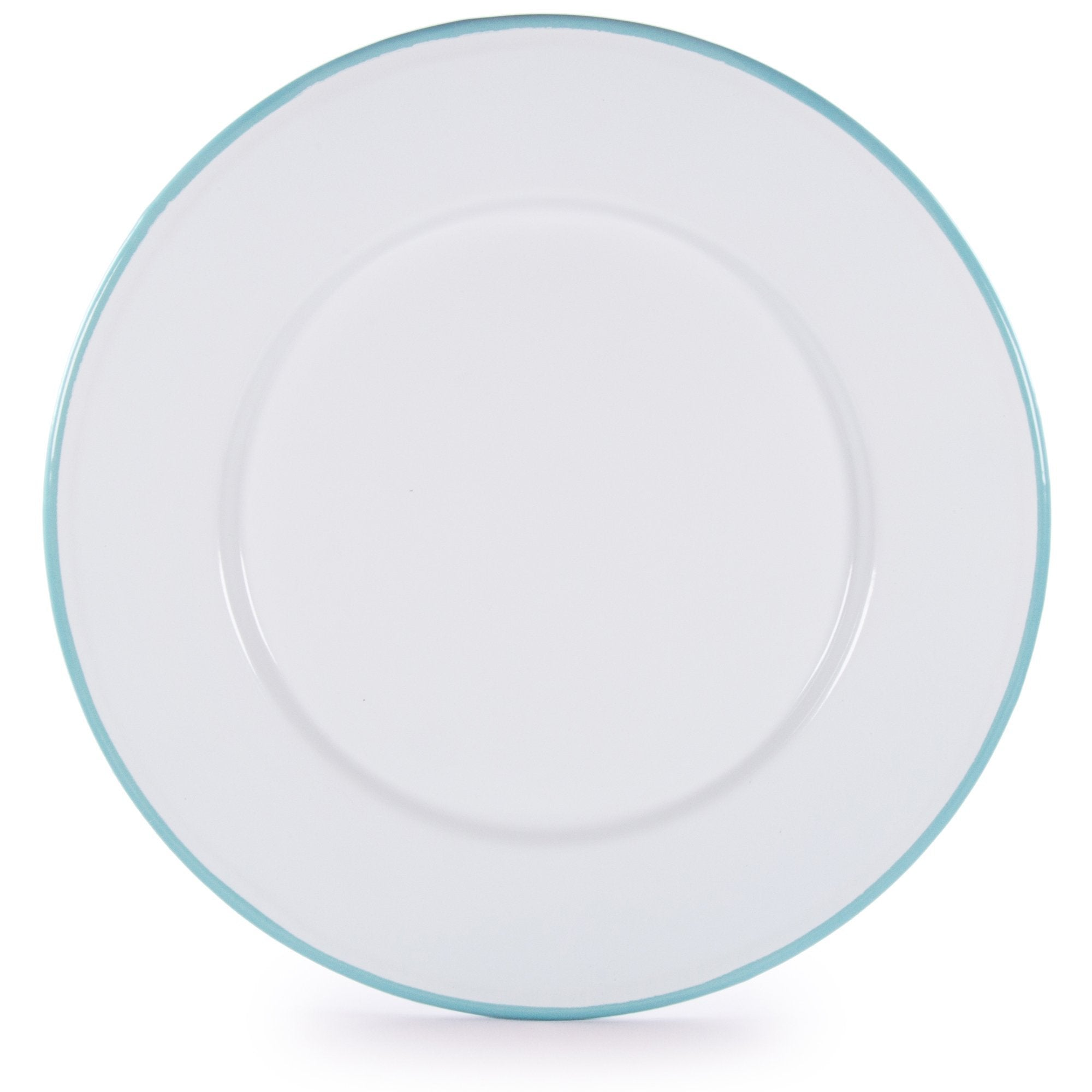 Glampware  Plates - White with Sea Glass Trim  - Set of 4