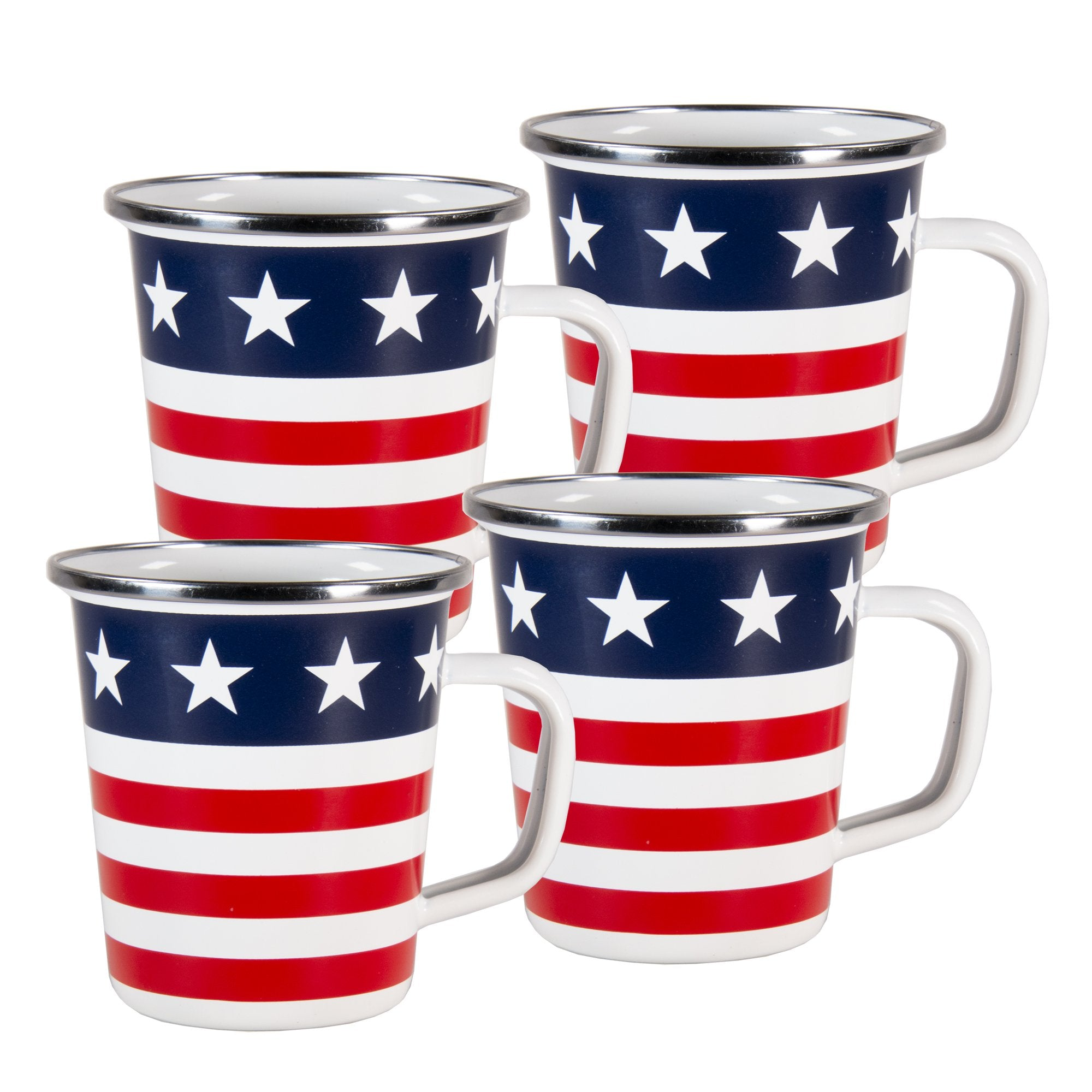 SS66S4 - Set of 4 - Stars and Stripes - Enamelware Latte Mugs
