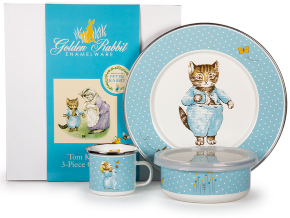 Golden Rabbit - Enamelware Tom Kitten Pattern Child Dinner Set