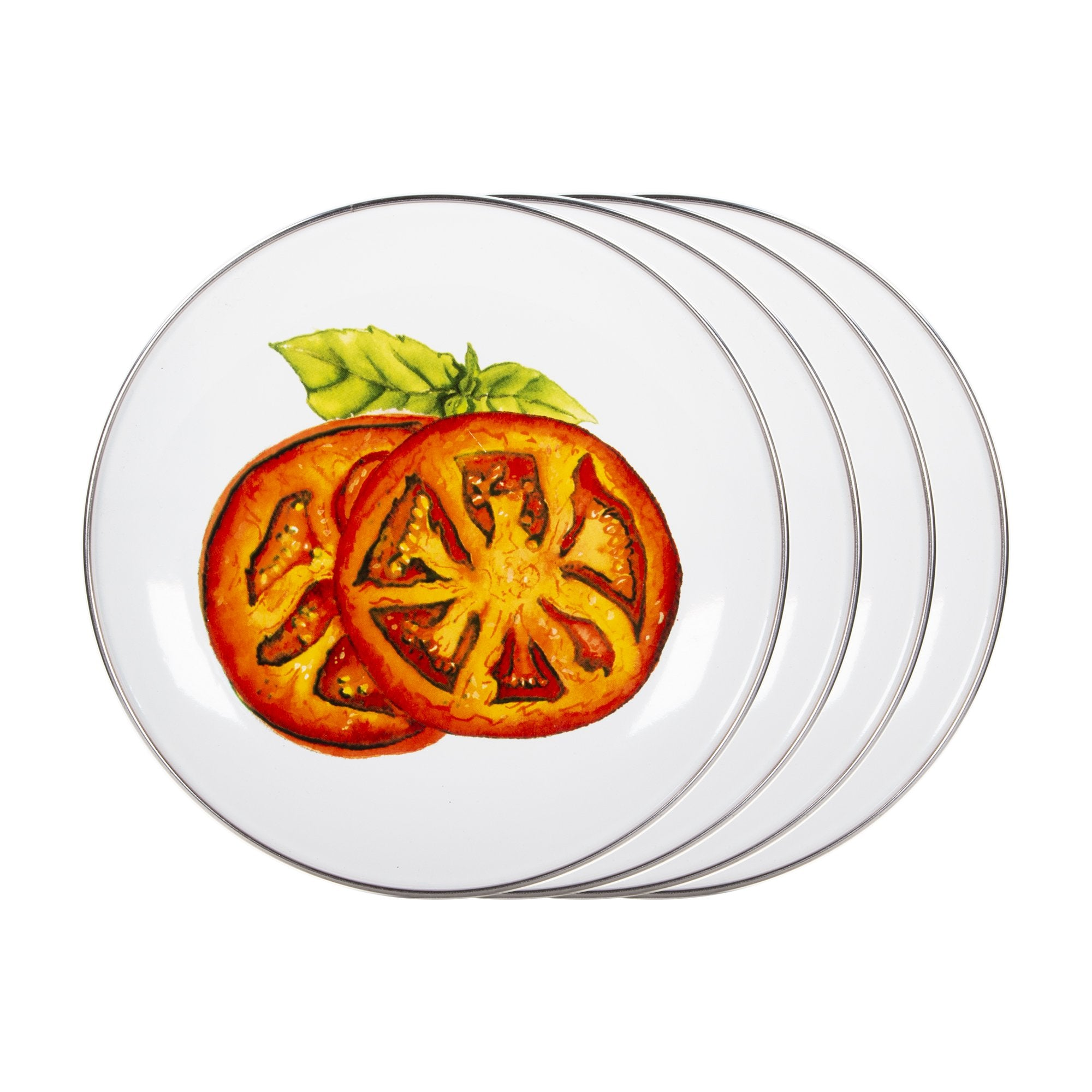 TM69 - Tomatoes Pattern - Enamelware Sandwich Plate - by Golden Rabbit