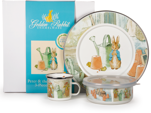 Golden Rabbit - Enamelware Watering Can Pattern Child Dinner Set