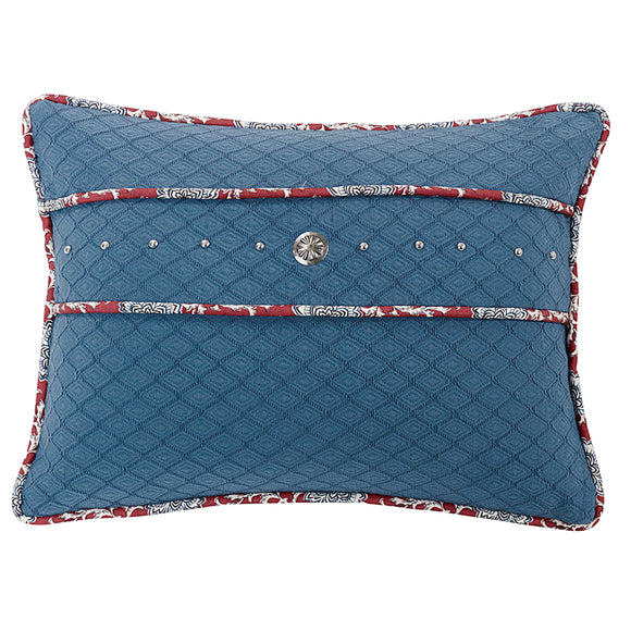 WS4011P3  Bandera Blue Pillow with Concho and Stud Trim