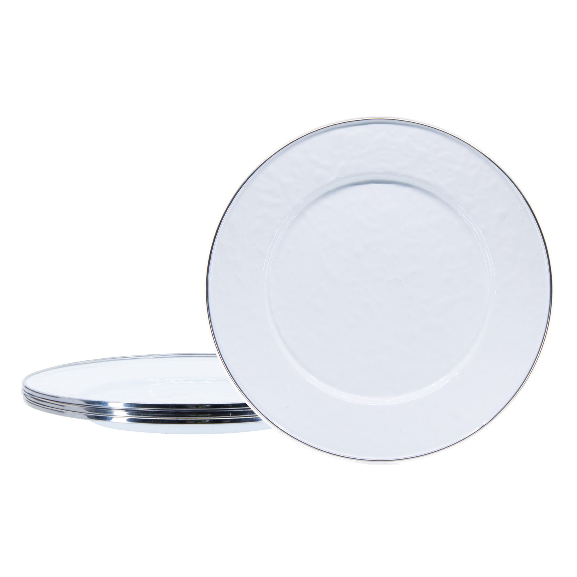 WW07S4 - Set of 4 - Solid White - Enamelware Dinner Plates