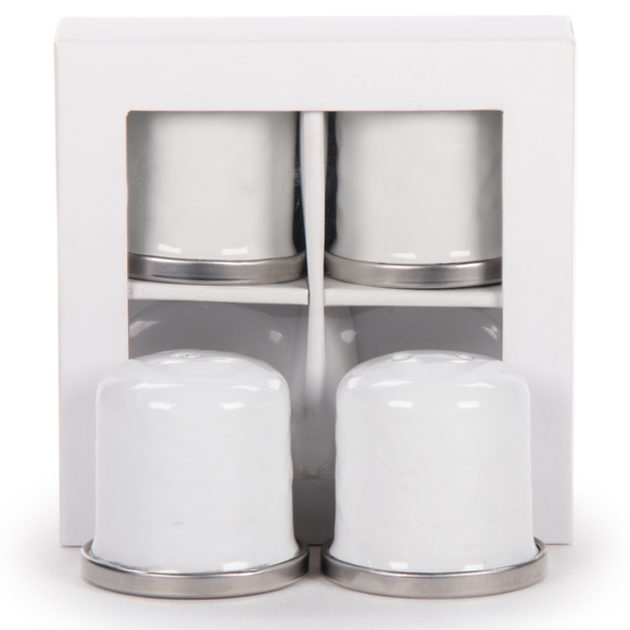WW37 - White on White - Set of 2 Pairs Salt & Pepper Shakers