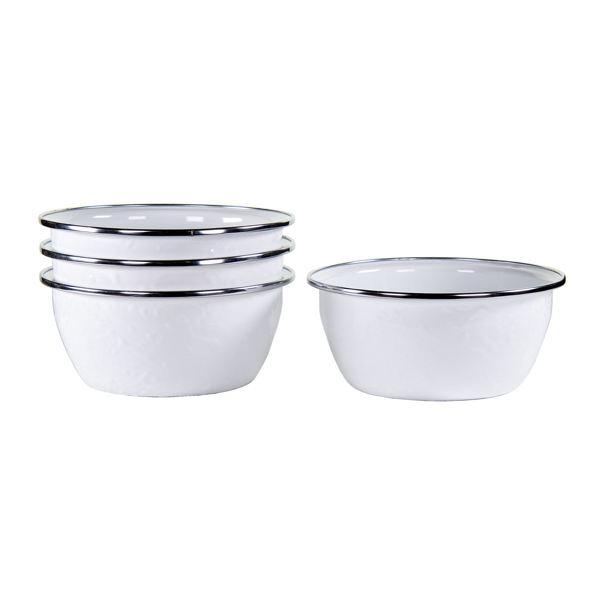 WW61S4 - Set of 4 - Enamelware Solid White - Salad Bowls by Golden Rabbit