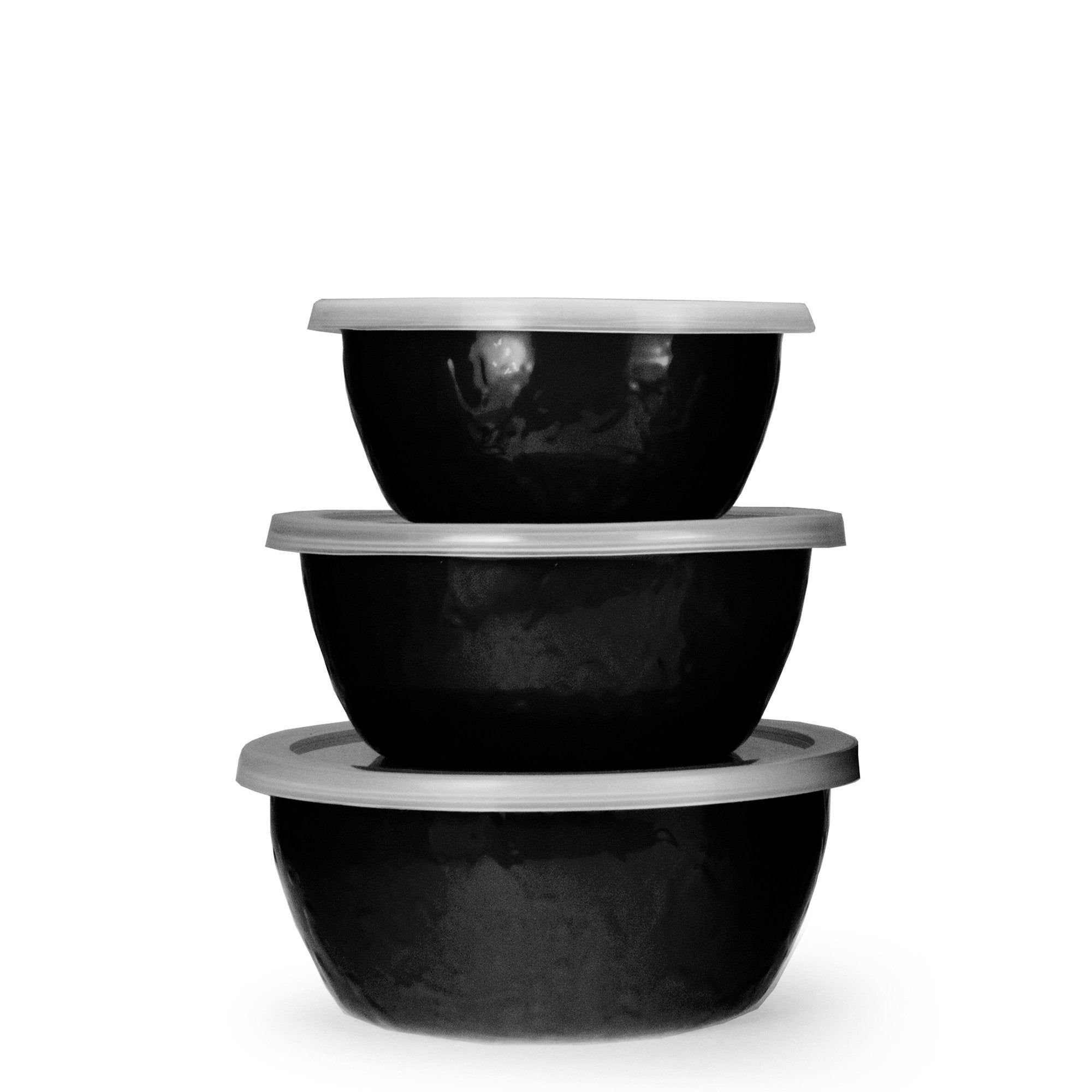 BK30 - Black on Black - Set of 3 Nesting Bowls by Golden Rabbit