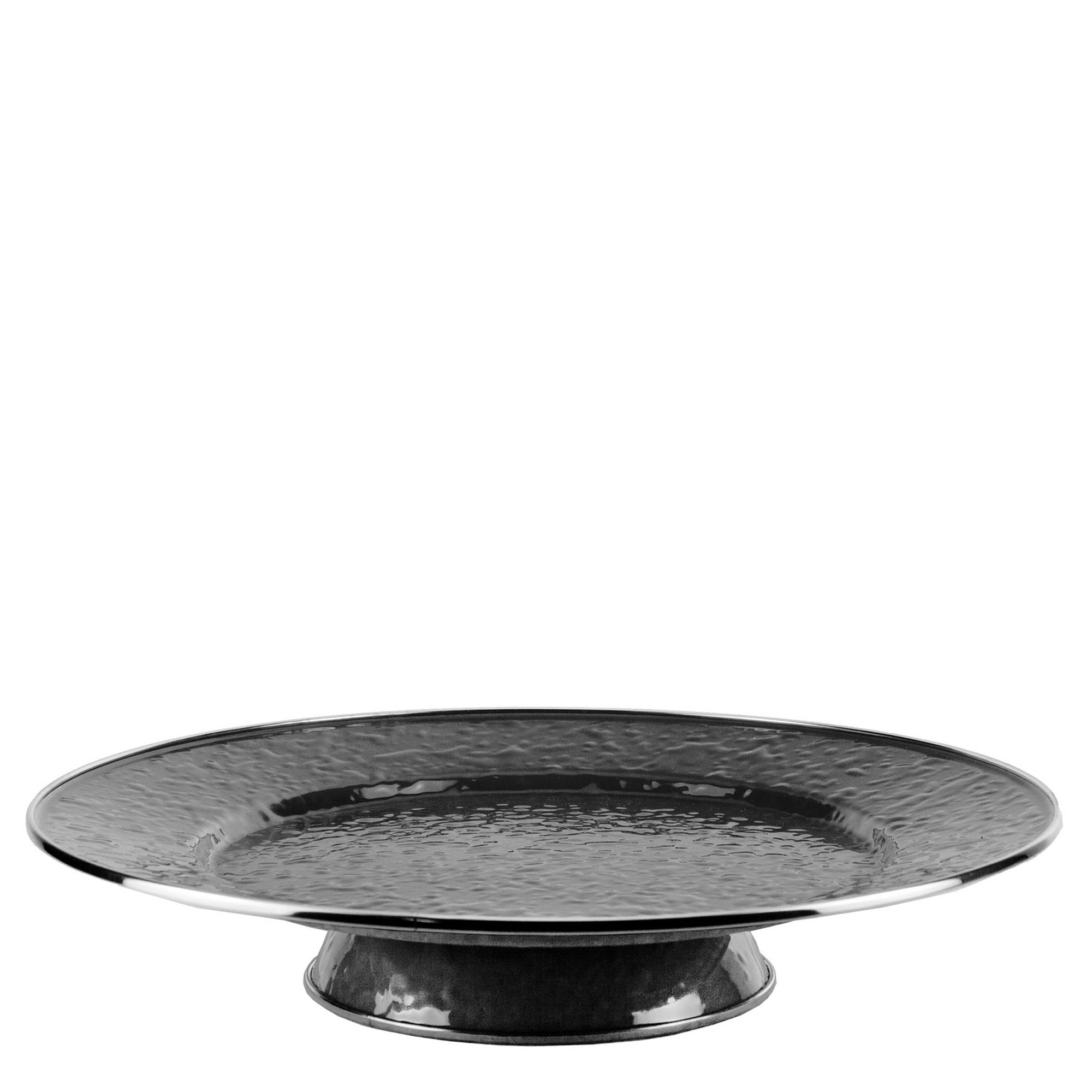 BK76- Enamelware- Solid Black Cake Plate by Golden Rabbit