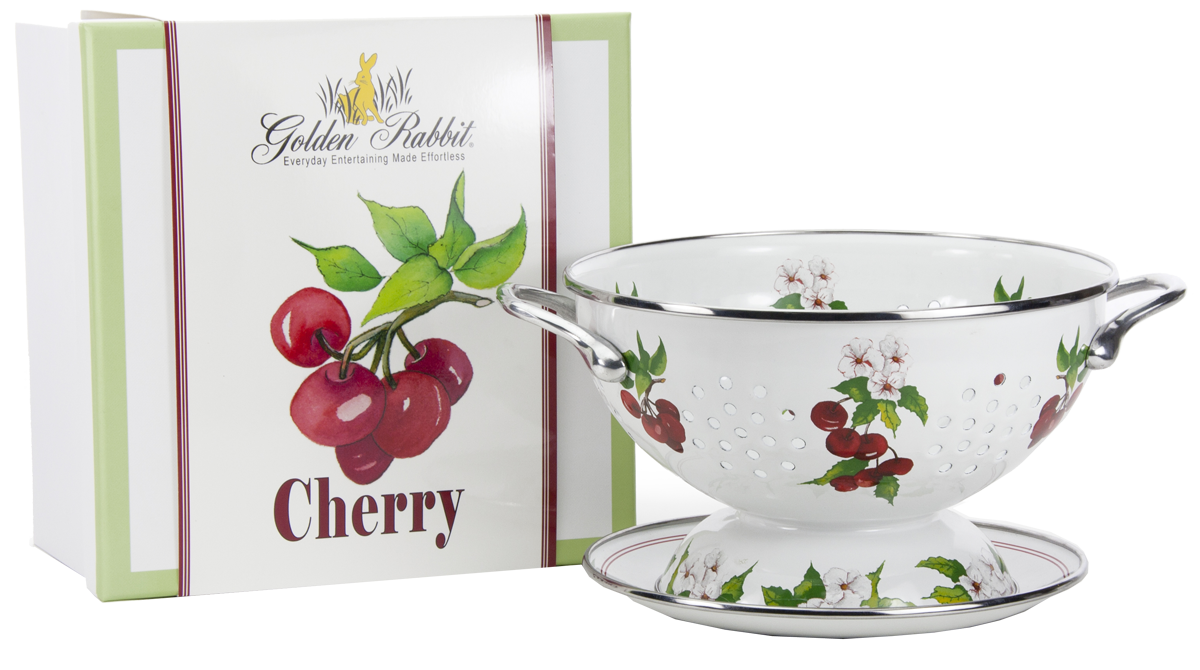 "CH107 - Cherry Pattern - 1 Quart Colander with 8"" Matching Drain Plate"