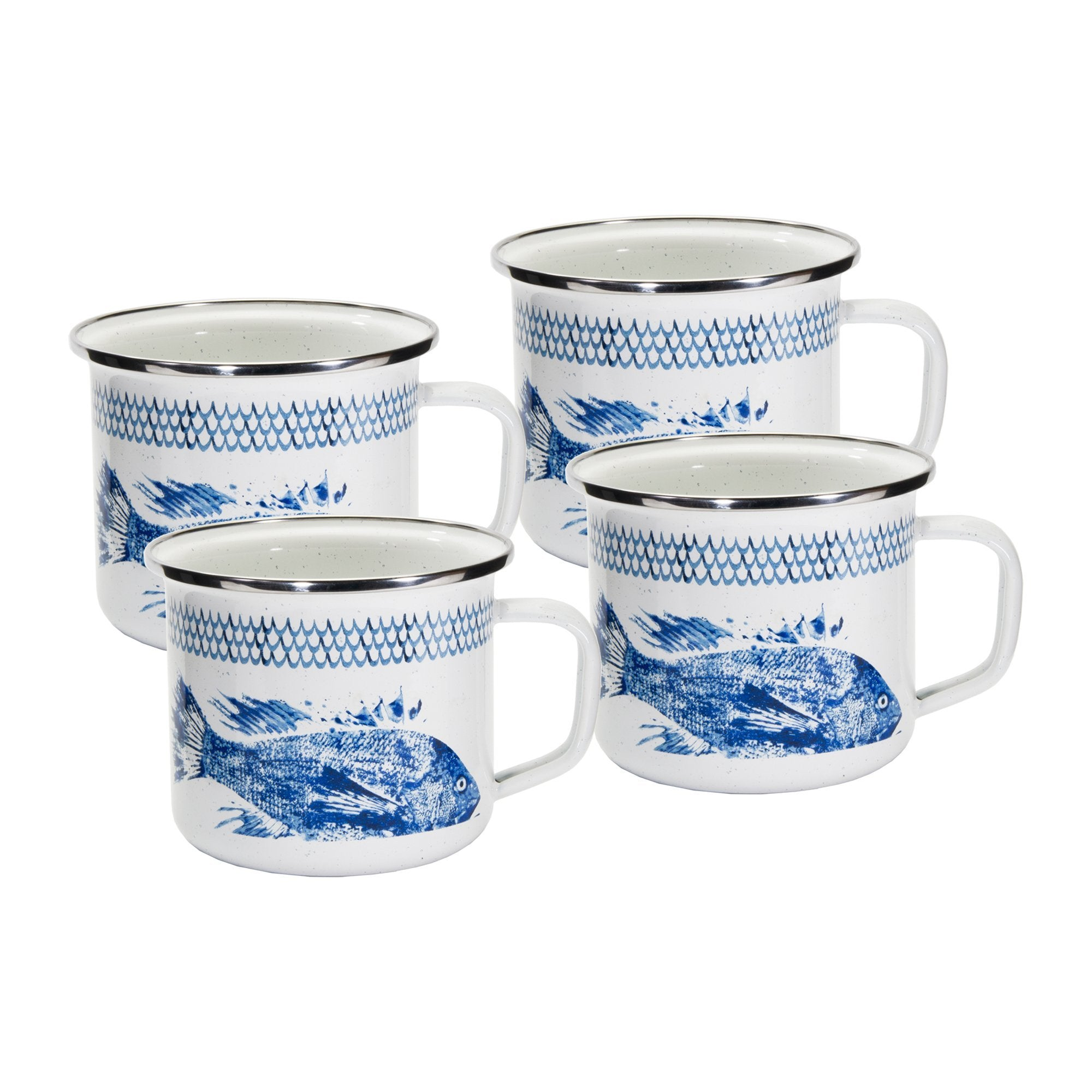 FC28S4- Set of 4 - Fish Camp - Enamelware - Grande Mugs by Golden Rabbit